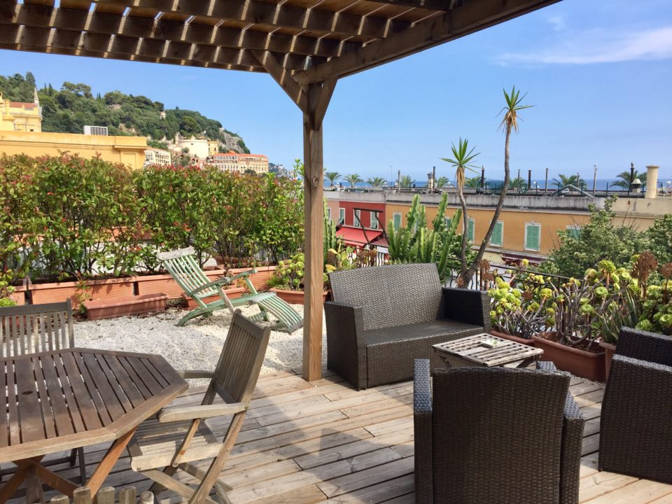 Rooftop terrasse of our vacation rental apartment in Nice ~ Our Love Affair with the city of Nice & the Côte D'Azur