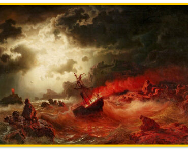 Marcus-Larson-Ocean-at-Night-with-Burning-Ship