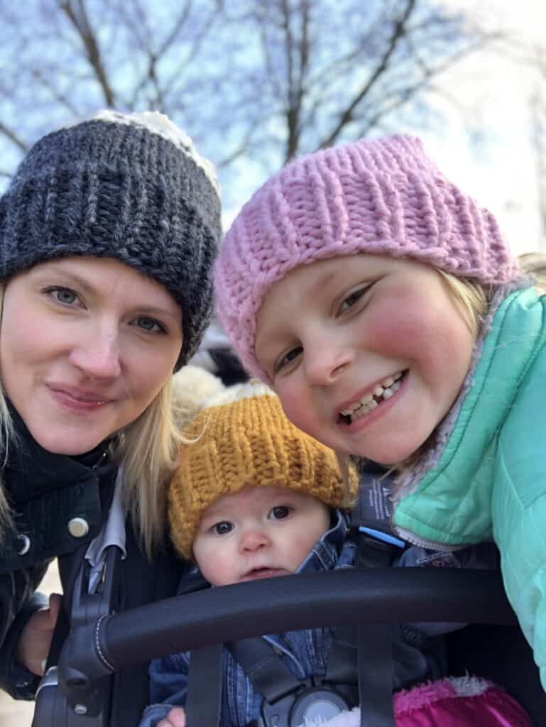 Mother daughter knit hats