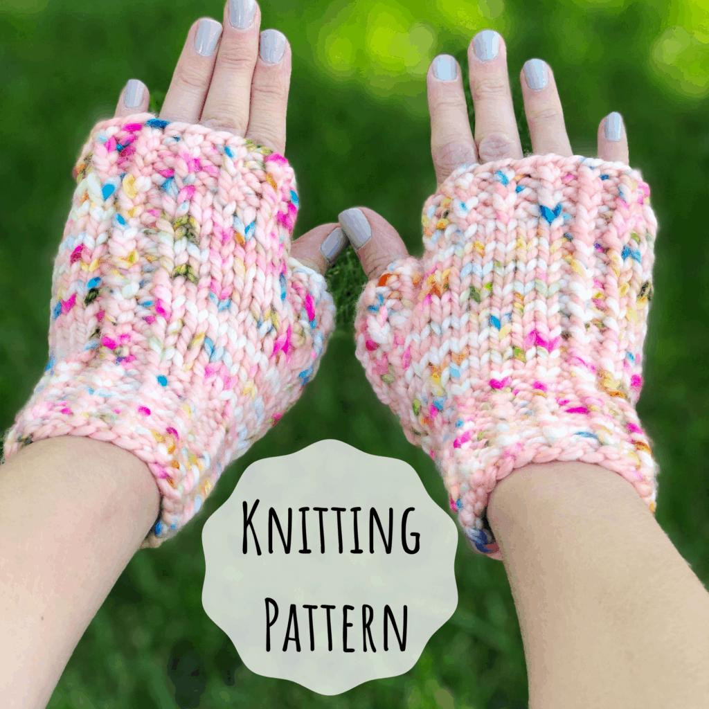 Bulky yarn fingerless mitten knitting pattern. Baby, Child, Adult fingerless mitten knitting pattern.