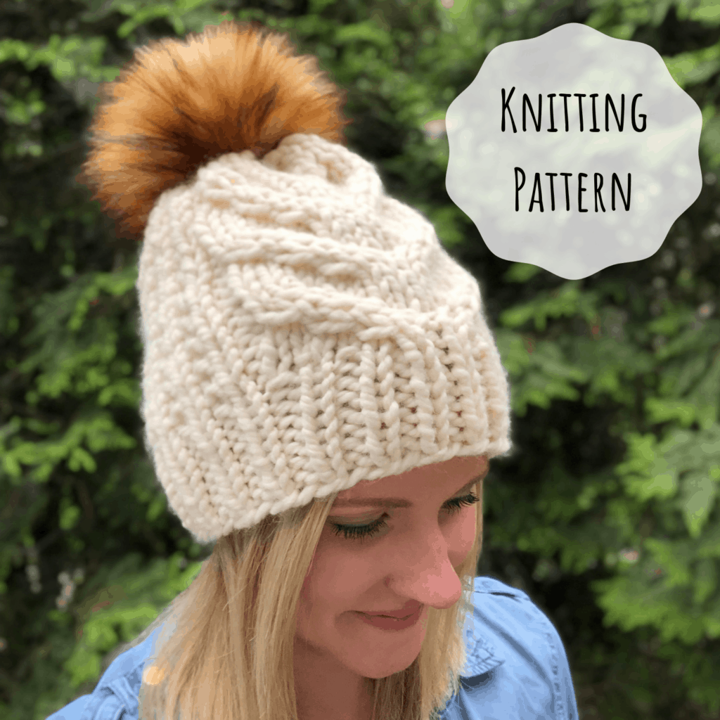 Super Bulky cable knit hat pattern. Staghorn cable knitting pattern.