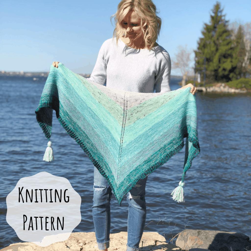 Fingering Weight Yarn Shawl knitting Pattern. Marling, fading, ombre shawl knitting pattern.