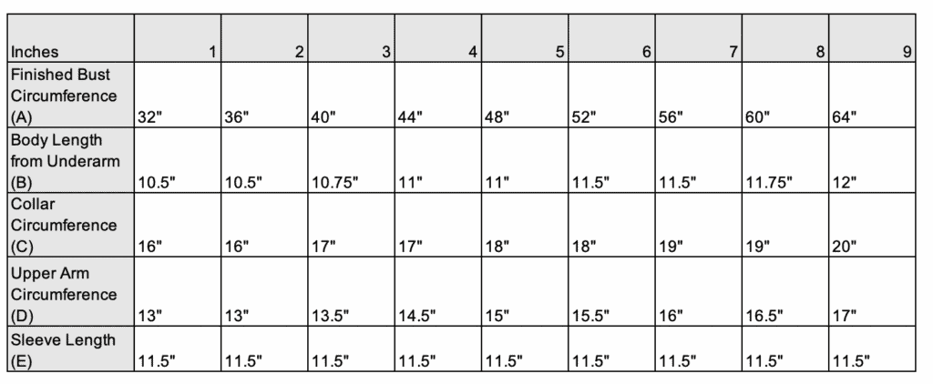Knit Sweater sizes
