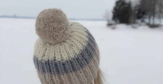 Color Block Fishermans Rib Free Hat Knitting Pattern