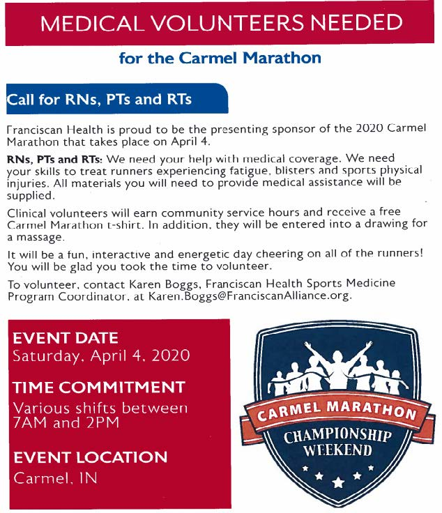 Franciscan Health Carmel - Carmel Marathon volunteers needed