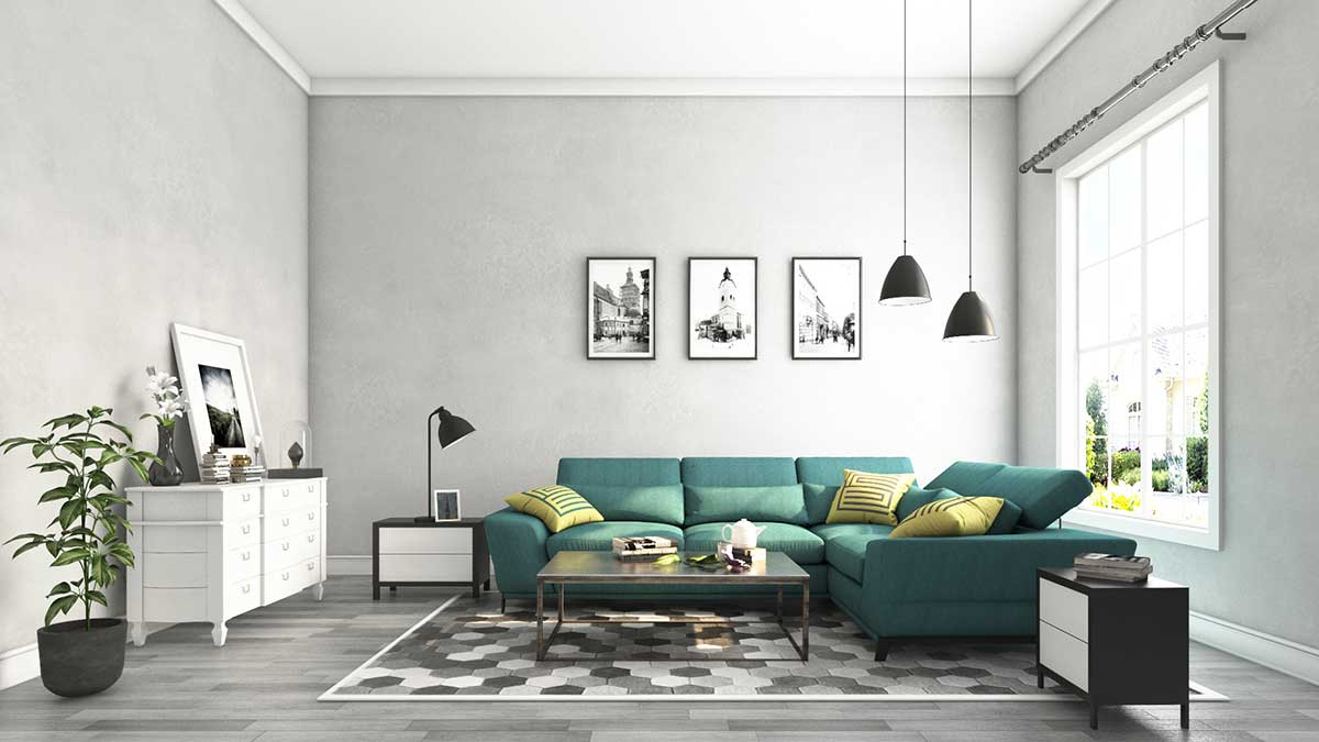 3D Interior Living Room Rendering