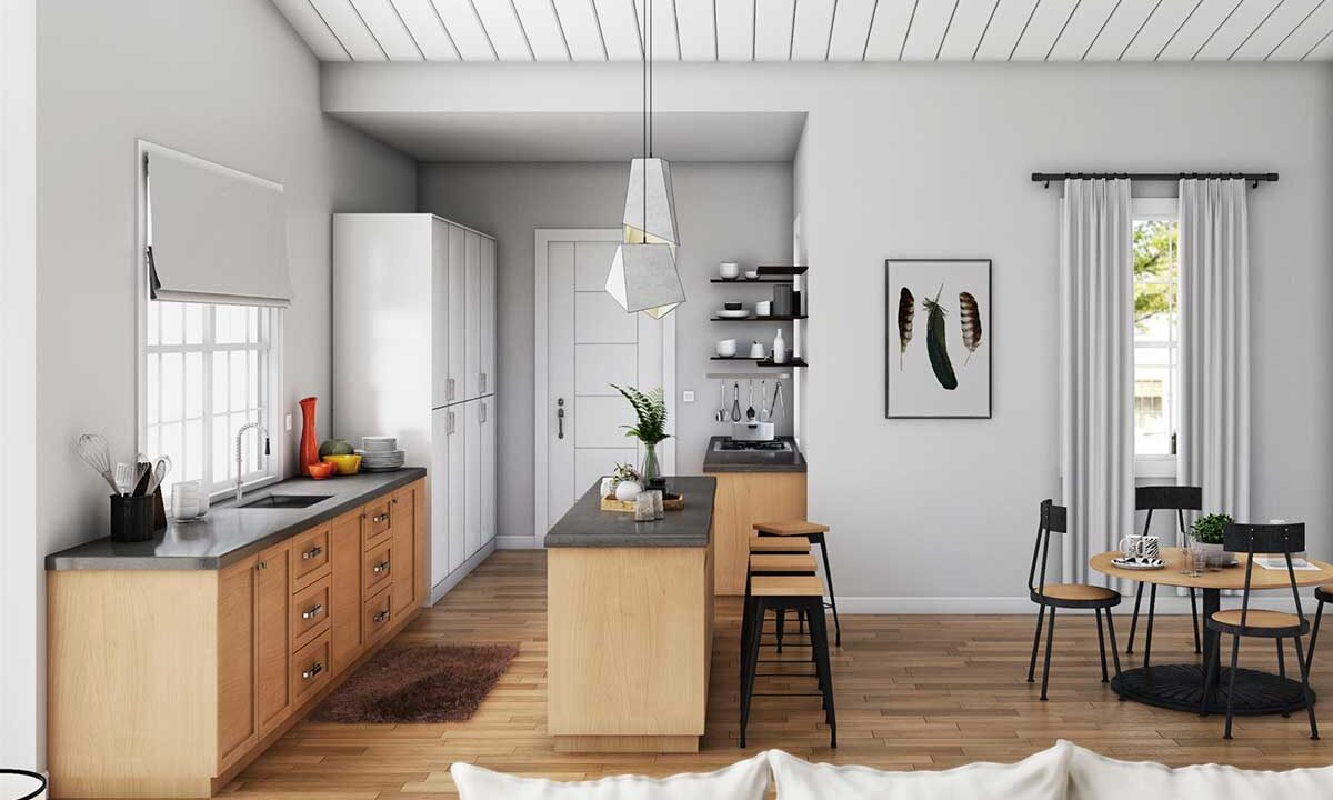 Kitchen and Dining Area 3D Rendering