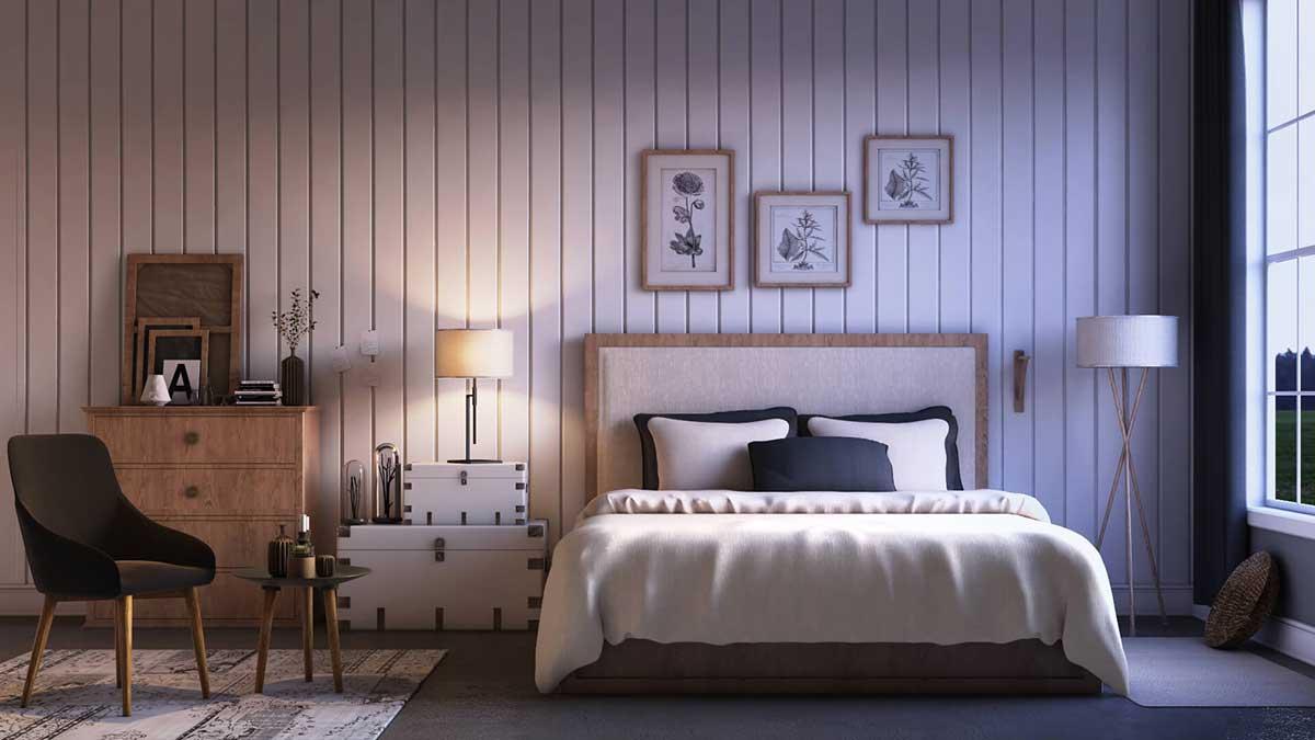 Concept 3D bedroom rendering