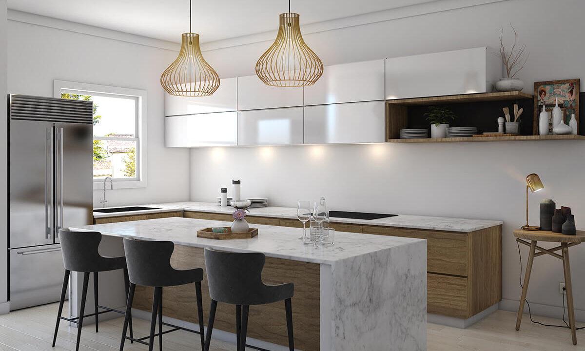 3D Kitchen interior rendering