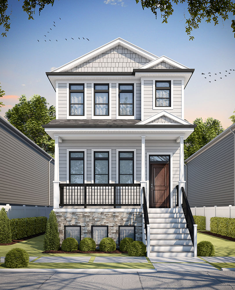 3D Exterior Rendering for a custom home in Chicago