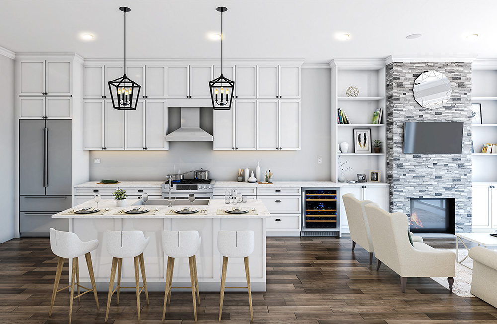 Kitchen Interior Rendering for a Condo in Chicago