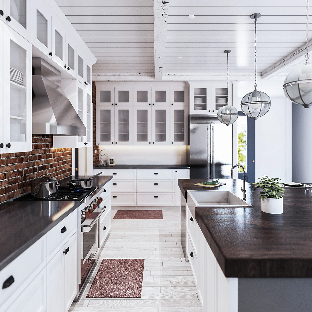 3D Kitchen Interior Rendering of a Custom Home