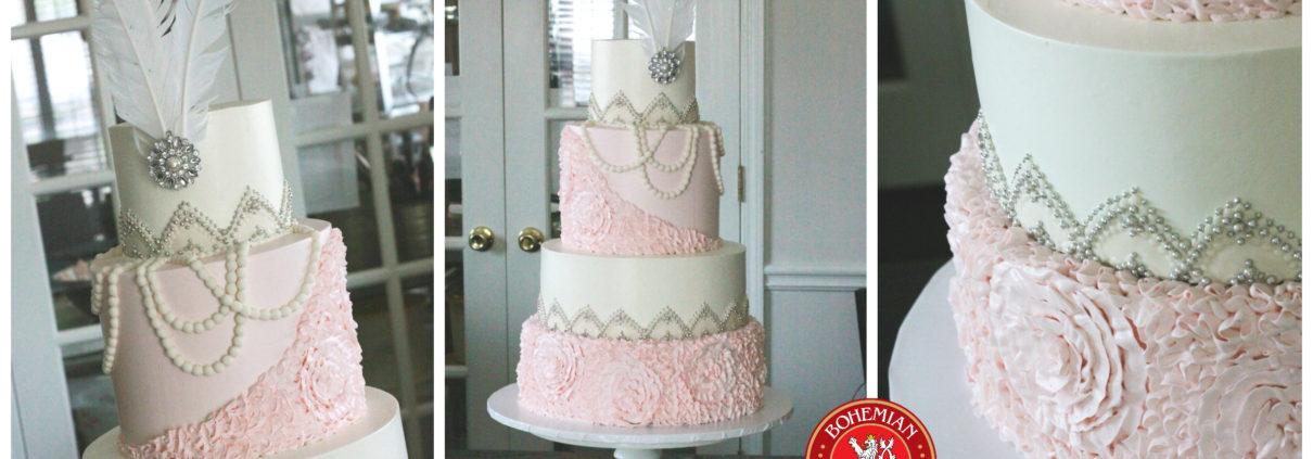 Pink Silver Art Deco Wedding Cake