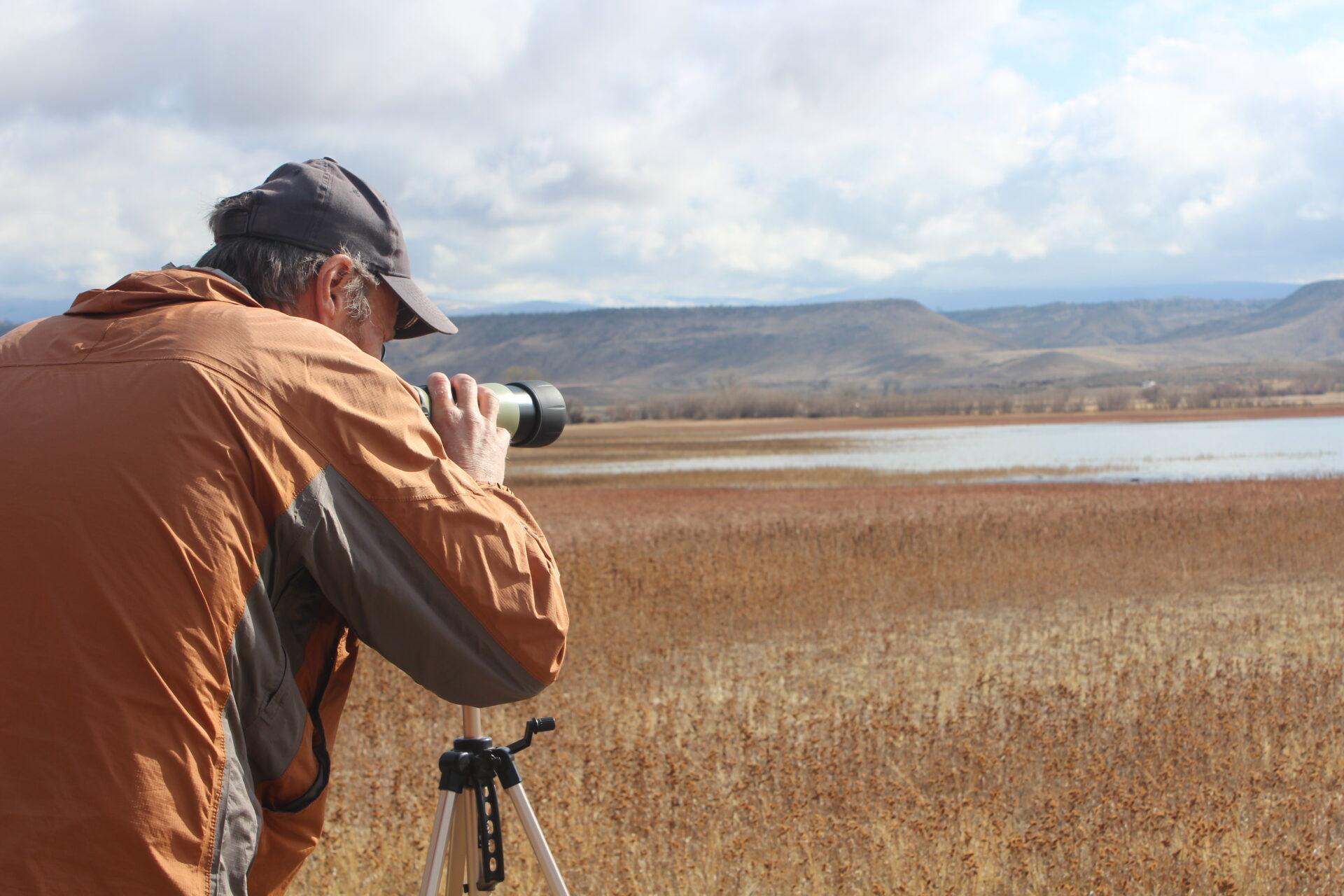 birder looking through scope.