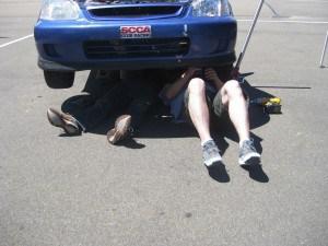 Greg and Kai, using the Civic as a sun shade.