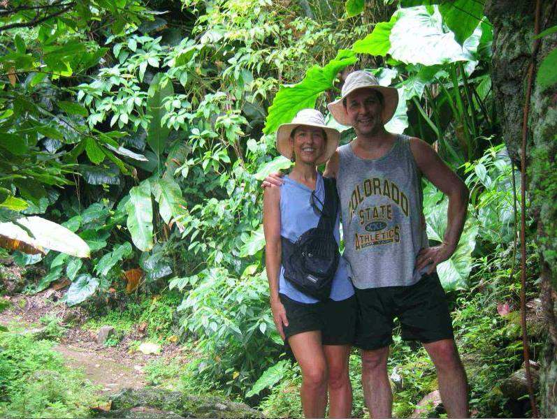 Here's a picture of my husband, Joel, and me on a hike through the rain forest on that tiny Caribbean island. I learned a lot about slowing down and appreciating the rhythms of nature while living there.