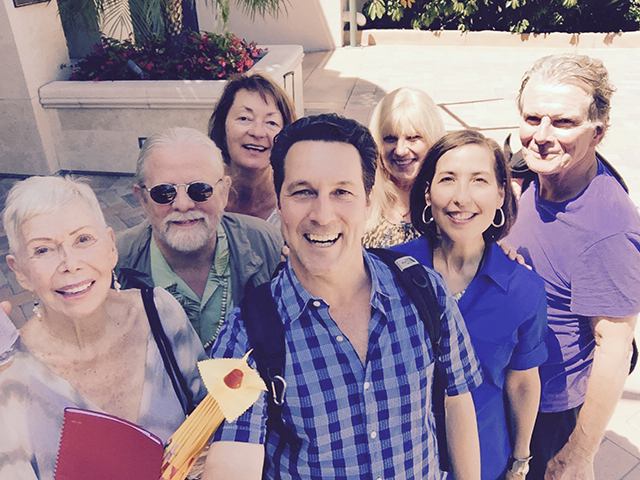 Louise decides that it's time we all learned more about our own city and arranges a tour of San Diego. The tour was incredible and even those living in San Diego for more than 30 years learned new things. Afterward, Joel takes a picture of the group with his new selfie stick.