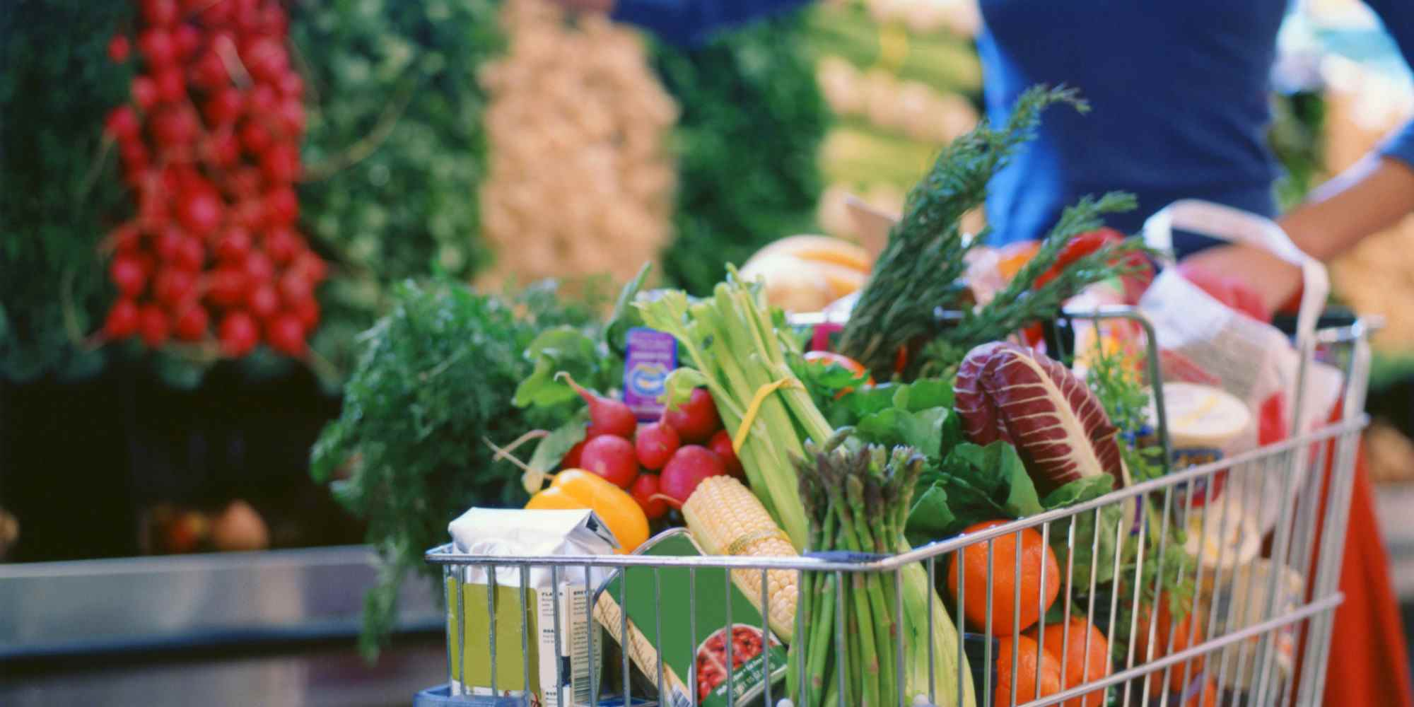 Grocery cart with healthy foods for runners