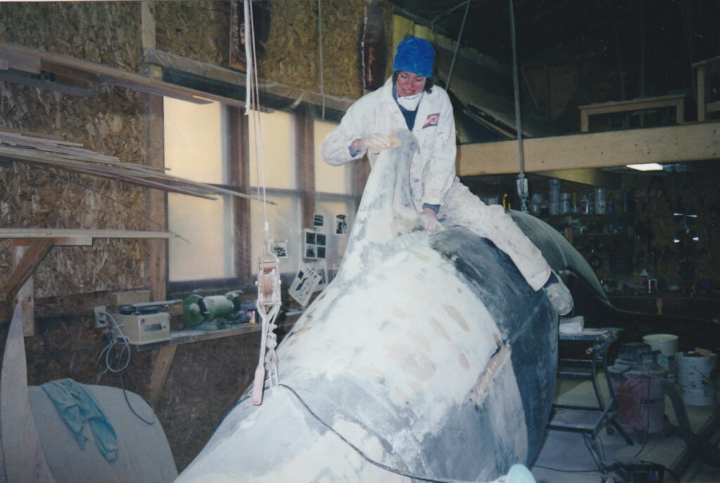 Pat Nelder working on a full size Pilot Whale for the Pleasant Bay Whale museum