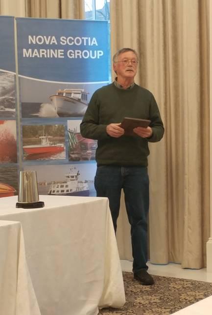 Keith Nelder receiving award from the Nova Scotia Boatbuilders Association