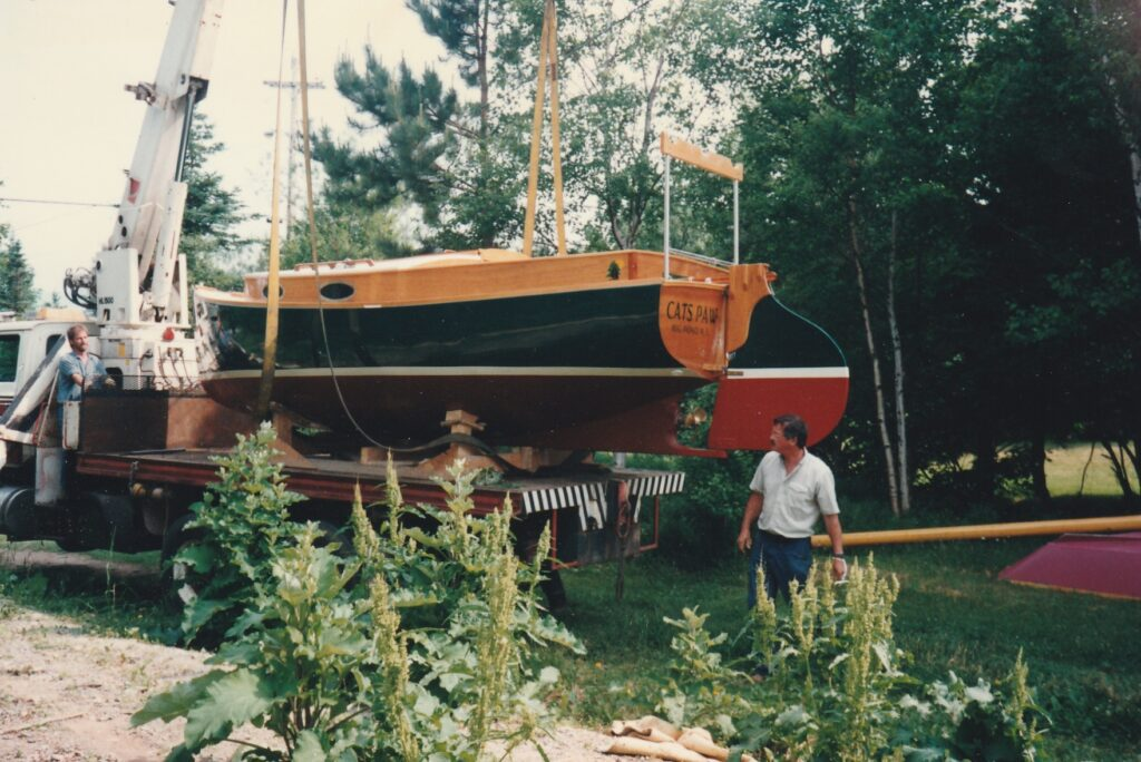 Keith Nelder prepares to launch the Wittholz 20 Catboat