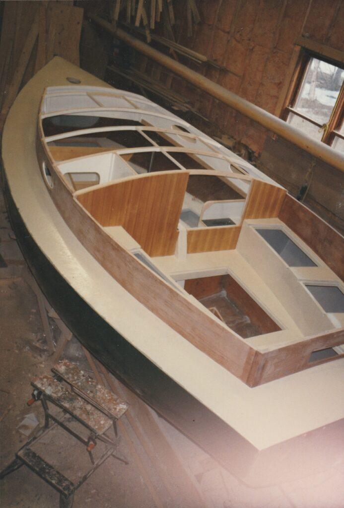 Wittholz 20' cold molded Catboat under construction at Big Pond Boat Shop
