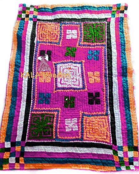 Pink Kutchi Handmade Dharki / BedSheet