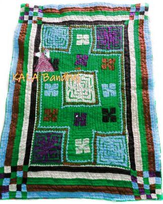 Green Kutchi Handmade Dharki / BedSheet