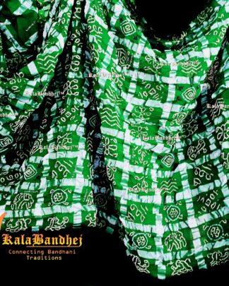 Parrot Cotton Gharchola saree