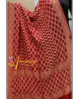 Pure Crape Silk Bandhani Dupatta Dark-RED