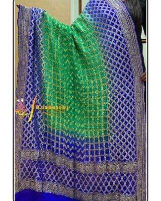 Pure Crape Silk Bandhani Dupatta Blue-Parrot