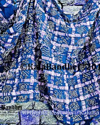R-Blue Cotton Gharchola saree