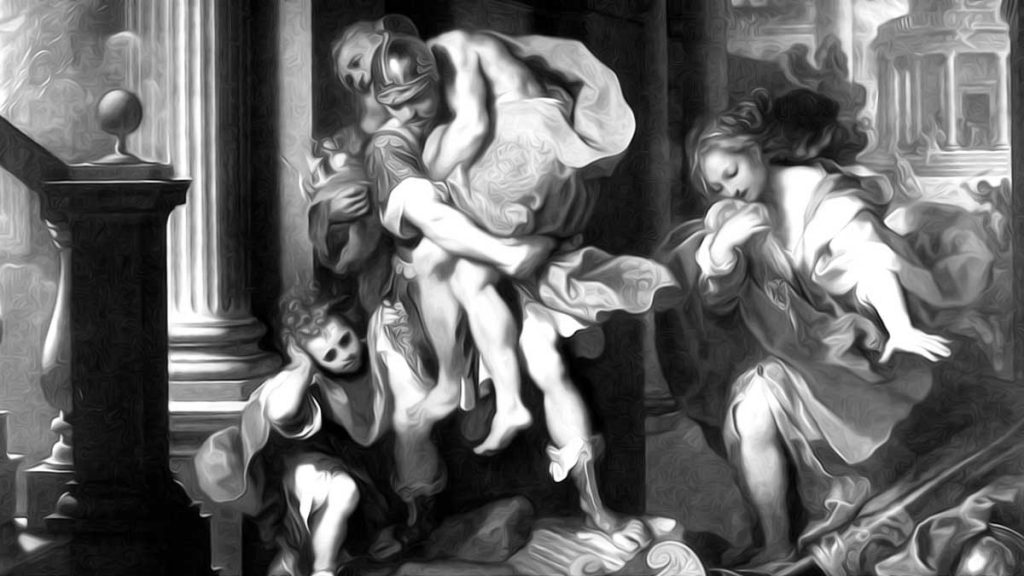 Aeneas fleeing from Troy