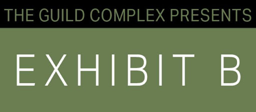 Exhibit B logo, text on black and green background