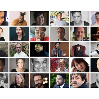 Collage of the headshots of all 30 Writers to Watch