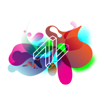 colorful splotches with the Lit and Luz logo in the center
