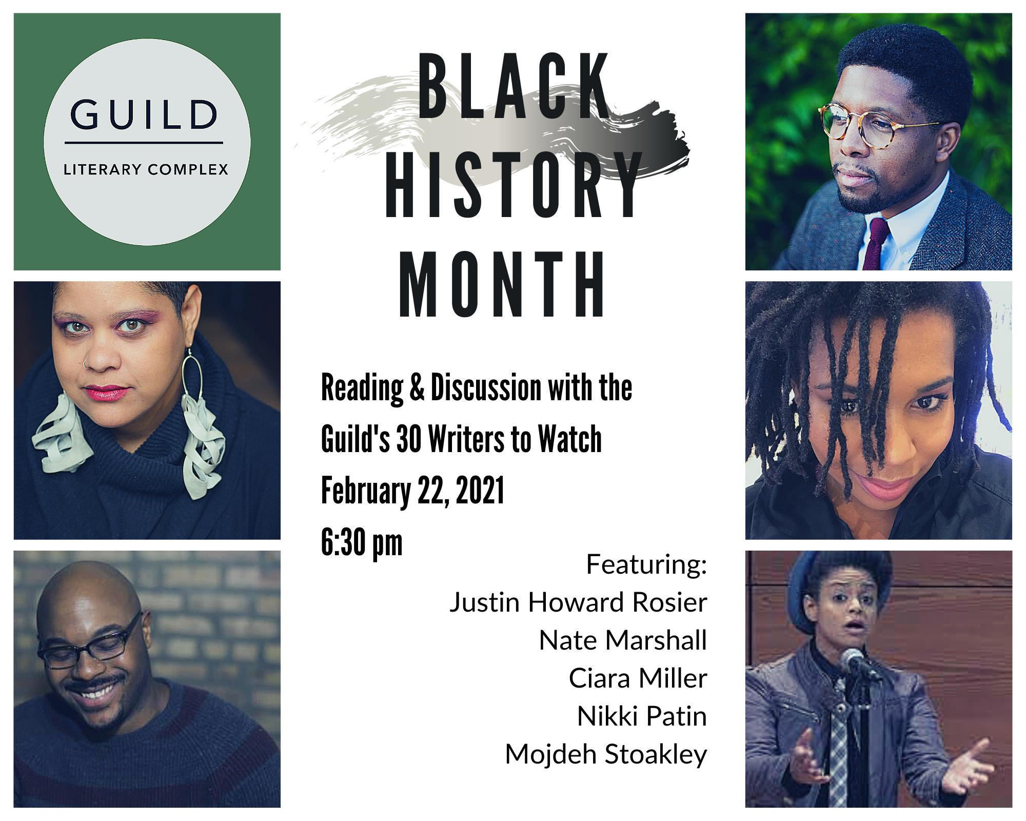 IMAGE: Six photos: The Guild logo + the authors TEXT: Black Historu Month