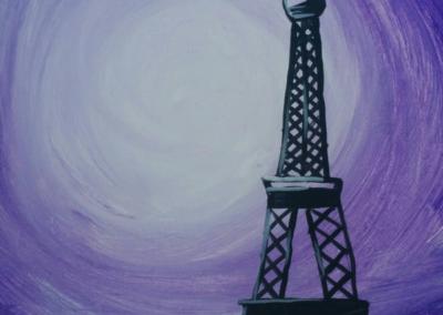 Eiffel Tower - Purple Painting