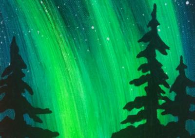 Northern Lights Bear Painting