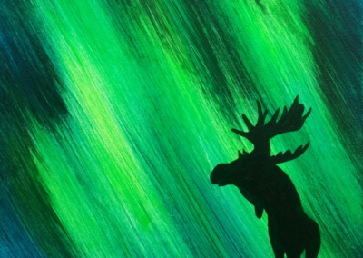 Northern Lights Moose Painting