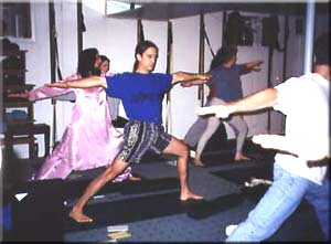 Depending on one's dosha, virabhadrasana 2 was held for different durations