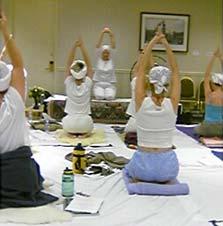 Shakta Kaur Khalsa leads a kundalini yoga practice.