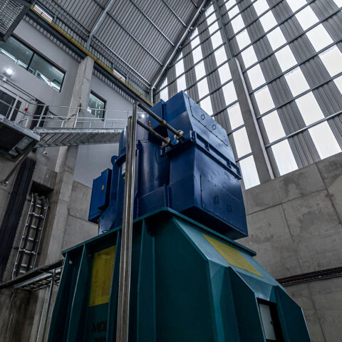 Lower Kruisvallei Powerhouse looking at gearbox & generations above turbine