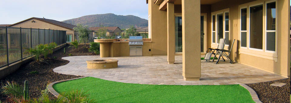 Paver patio with artificial turf