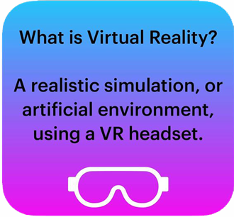 What is Virtual Reality? A realistic simulation or artificial environment using a VR headset.