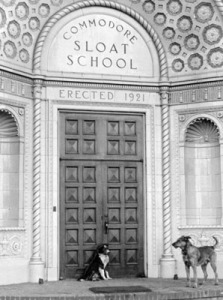 The original entrance to the school, 1927. (dogs unidentified)