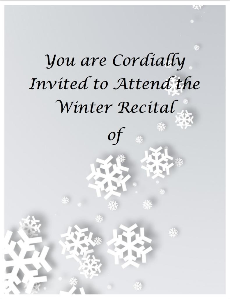 Paloma Piano - Winter Recital - Invitation