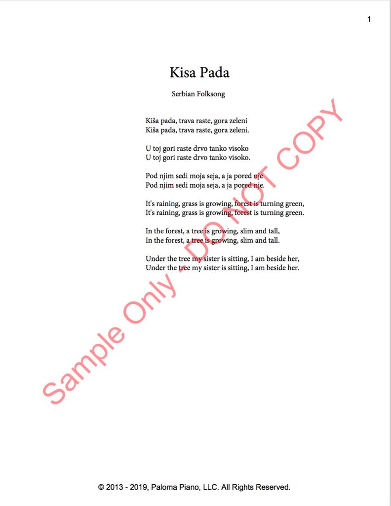 Paloma Piano - Kisa Pada - Page 1