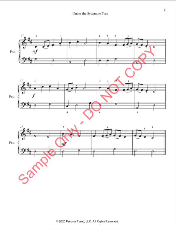 Paloma Piano - Under the Sycamore Tree - Page 3