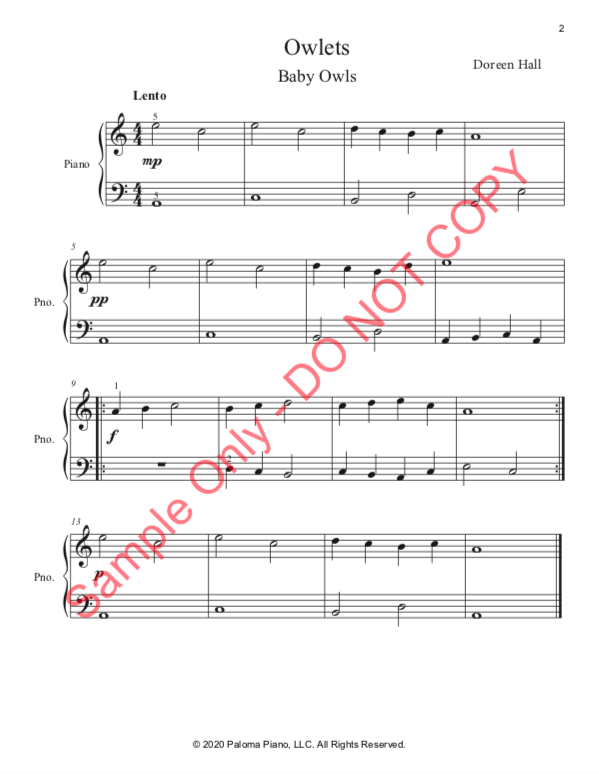 Paloma Piano - Spring Baby Animals - Owlets - Page 2